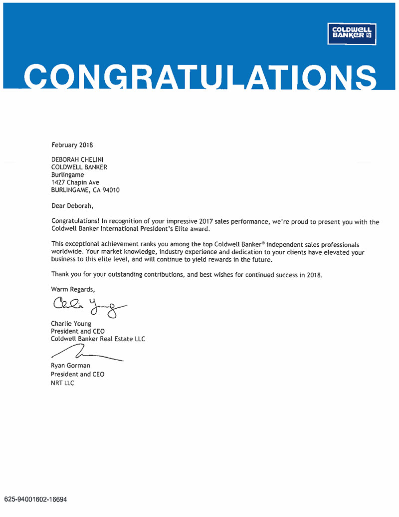 Letter Presenting 2017 Coldwell Banker International President's Elite Award