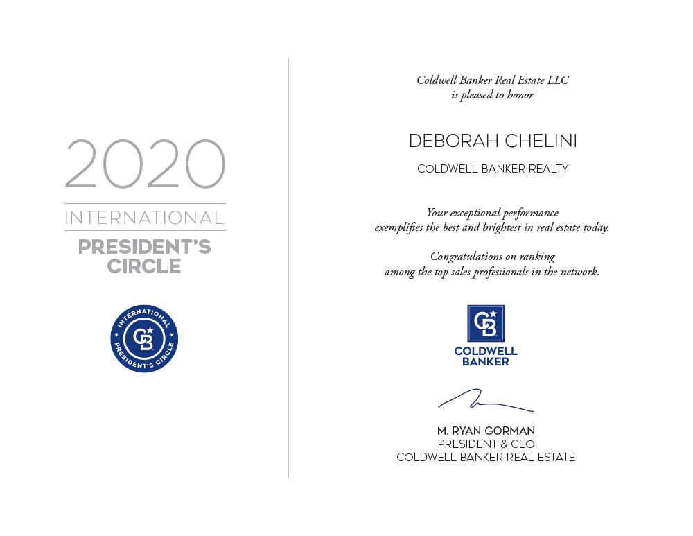 2020 Coldwell Banker International President's Circle award to Deborah Chelini